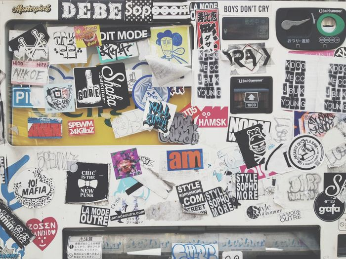 Tokyo, Japan - March 30, 2016 :Bumper stickers and graffiti on the street,Harajuku,Tokyo is known as a center of Japanese youth culture and fashion. Japan Street Art/Graffiti Tokyo Tokyo Street Photography Tokyo,Japan Backgrounds Close-up Day Full Frame Graffiti & Streetart Graffiti Art Graffiti Wall Large Group Of Objects No People Paper Photograph Stickers And Stickers Street Art Streetphotography Text