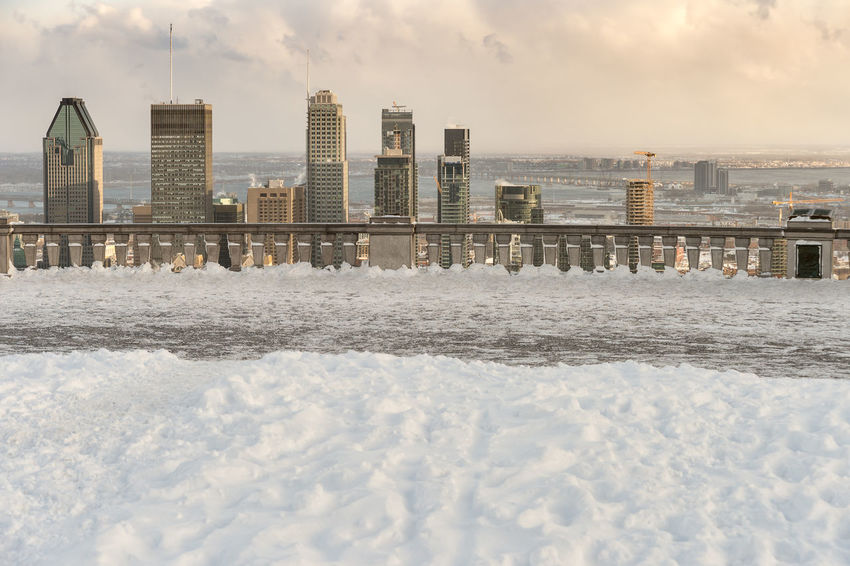 Montreal Skyline in winter from Kondiaronk Belvedere (December 2016) Architecture Beach Beauty In Nature Building Exterior Built Structure City Close-up Cold Temperature Day Nature No People Outdoors Sky Sky And Clouds Skyline Snow Winter