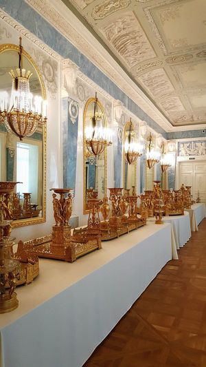 Indoors  No People Luxury Golden Dishes Dishes Dining Table Winter Palace Hermitage Museum Imperial Palace Hermitage, St. Petersburg Russia St. Petersburg, Russia St. Petersburg Antique Detail Art And Craft Gold Indoors  Gold Colored