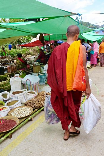 Food Adult Day Street Photography People Outdoors Kalaw Myanmar Burma Street Market Customer  Real People Food And Drink Vegetable Market Stall Market For Sale Robe Monk  Religion Buddhism Culture Purchases