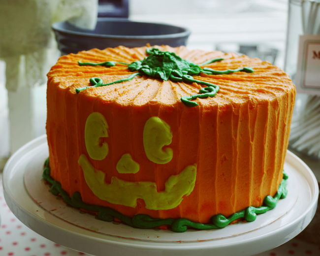 Halloween cake Autumn Cakes Desserts Halloween Magnolia Bakery New York New York City Bakery Cake Close-up Day Fall Focus On Foreground Food Food And Drink Freshness Indoors  No People Plate Pumpkin Ready-to-eat