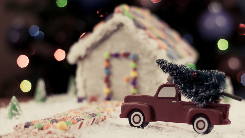 Gingerbread house Holiday Food Winter Snow Gingerbread Truck Gingerbreadhouse Red Truck Gingerbread House Background Christmas Tree Christmas Bokeh Christmas Night Before Christmas Holidays Candycane  Candy Cane Bokeh Treat EyeEm Selects Food Candy Car Toy No People Toy Car Childhood Defocused Outdoors