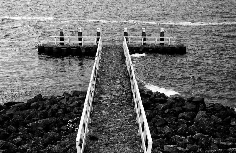 Jetty Waterfront Water Sea Pier Fresh On Eyeem  Black And White Photography Black And White End Of The Road The Letter T T T Bone Sea Water Depression Depressed T For Think