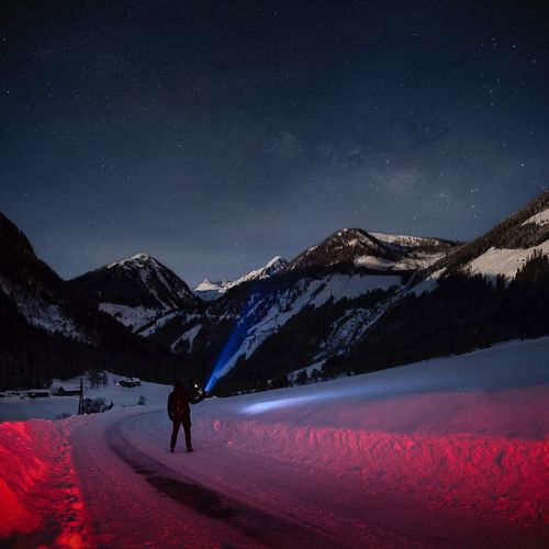 Night in the mountains Alps Austria Nightphotography Mountains Tamasschober Snow Mountain Cold Temperature Star - Space Night Mountain Range Winter Sky Scenics - Nature Beauty In Nature Astronomy Space Space And Astronomy Nature