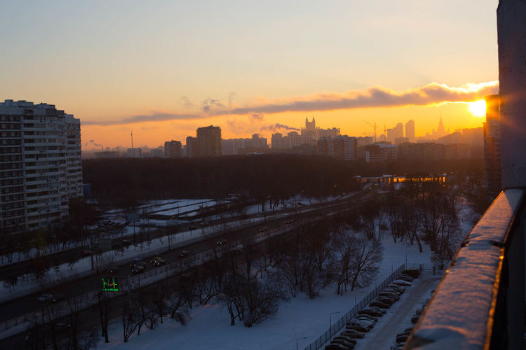 Here comes the Sun Architecture City Cityscape Cold Temperature High Angle View Moscow Nature No People Sky Snow Sunrise Urban Skyline Winter