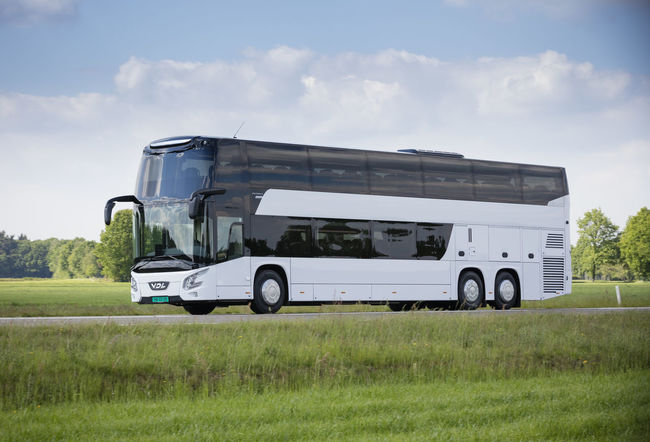 The new coach VDL Futura rides through the Brabant landscape, in the south of The Netherlands. Bus Cloud - Sky Coach Day Double Decker Bus Dutch Landscape No People Outdoors Transportation Traveling
