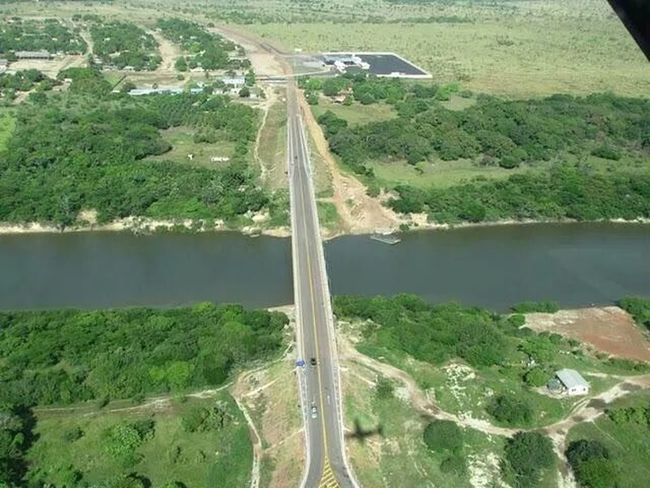 takutu bridge to go brazil from my country, guyana... From An Airplane Window On The Road Bridge... Travelling