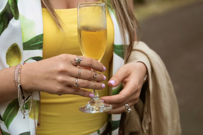 Party Yellow Food And Drink Drinking Wine Fashion Cheers Jewelry Women Hand Ring Midsection Human Hand Celebration Holding Lifestyles Exploring Fun My Best Photo
