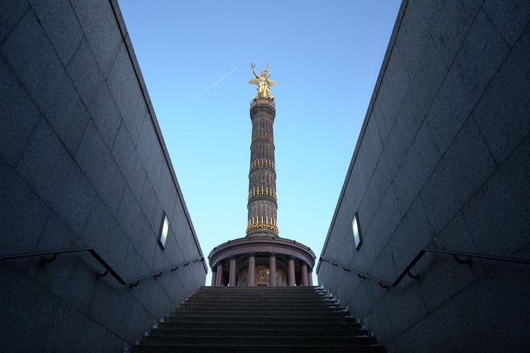 Berlin Siegessäule Berlin Memorial Place Of Worship Siegessäule  Tourist Vacations Blue Sky Golden Hour Nike Sculpture