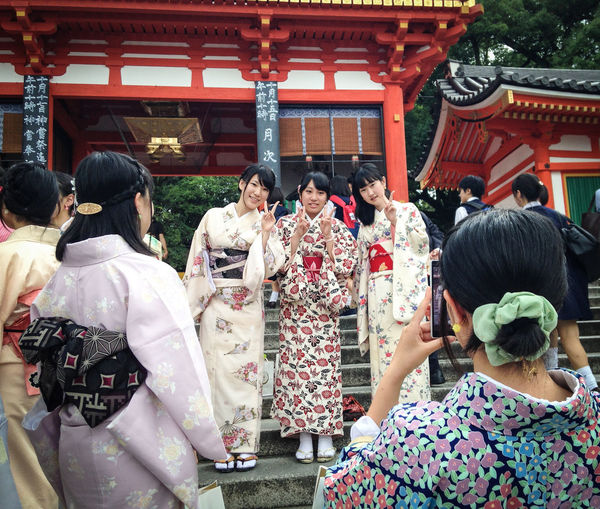 Architecture Building Exterior Cultures Day Japan Japanese Cult Ure Japanese Style Kimono Large Group Of People Place Of Worship Real People Religion Shrine Spirituality Togetherness Tourism Tradition Travel Destinations Travel Photography