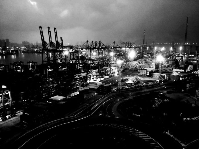 Kwai Tsing Container Terminal Traveling Blackandwhite Black And White Travel Photography HongKong Container Terminal Night Nightphotography Night Lights Water Sea City Nautical Vessel Illuminated Sky