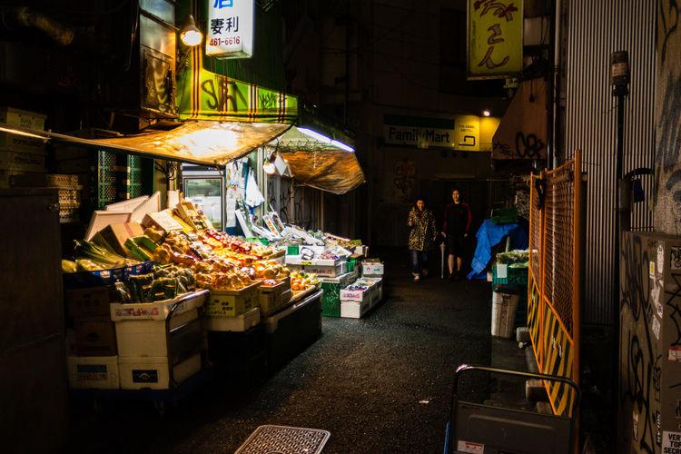 Adapted To The City Dark Darkness And Light Food Illuminated Market Market Stall Night