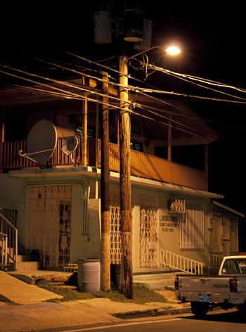 Amber Concrete Connection Driveway Golden Laboratory Light And Shadow Night Power Lines Puerto Rico Satalite Dish Street Lamp Structure Truck