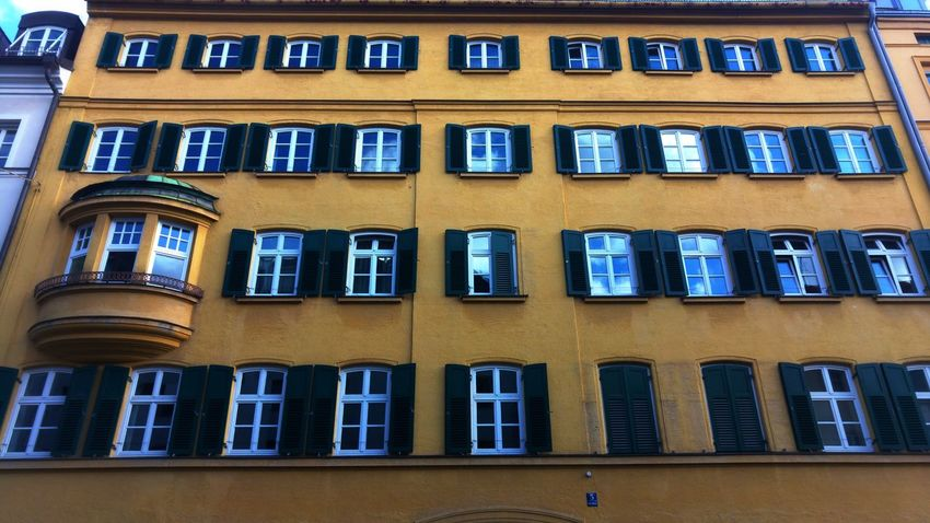 Window Architecture Building Exterior Built Structure Low Angle View No People Day Outdoors City Window Pattern Yellow Wall City Architecture