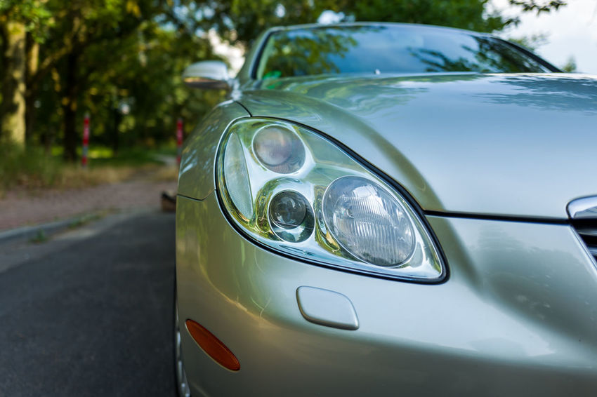 Lexus SC 430 SC430 Car Close-up Day Focus On Foreground Green Color Headlight Land Vehicle Mode Of Transportation Motor Vehicle Nature No People Outdoors Retro Styled Road Stationary Transportation Tree Vintage Car Windshield