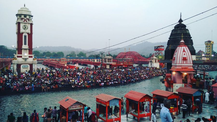 View of crowd along ganges river