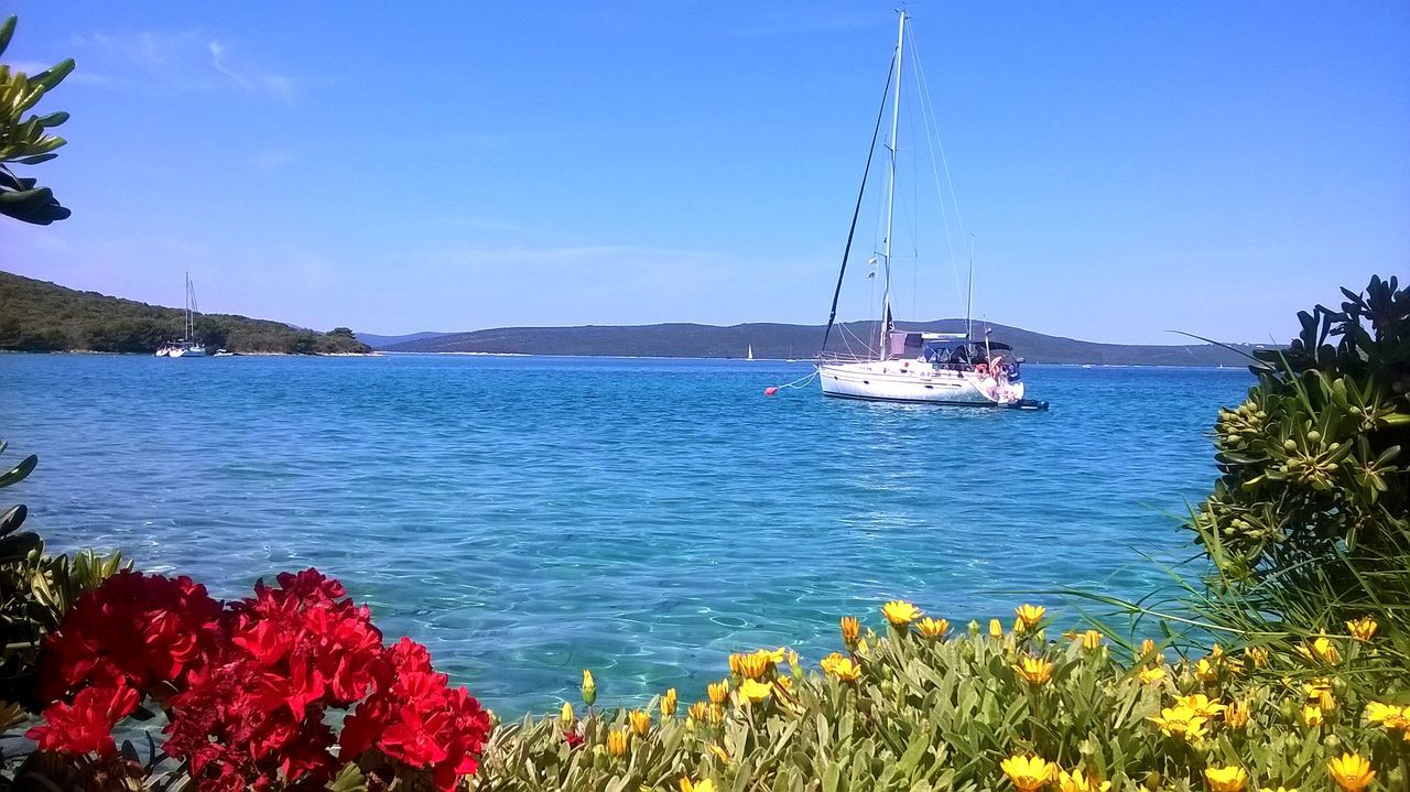 nature, nautical vessel, beauty in nature, transportation, mode of transport, sea, scenics, outdoors, tranquil scene, sky, water, day, tranquility, blue, plant, no people, sailboat, flower, mast, sunlight, mountain, tree, clear sky, yacht