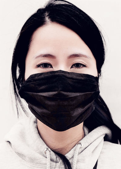 Portrait of a teenage girl covering face