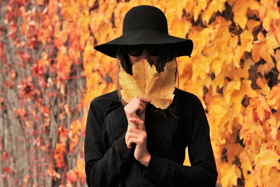 Autumn Autumn Colors Autumn Leaves Autumn🍁🍁🍁 Black Hat Focus Object Girl Girl With Hat Girl With Sunglasses Hat Leaves Pretty Girl Red And Orange Sunglasses