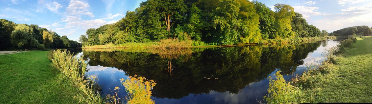 Wansbeck riverside park panorama Green Color Nature Outdoors Reflection Tree Water Tranquil Scene Sky Beauty In Nature Cloud - Sky Scenics Tranquility Nature Day Non-urban Scene Idyllic Waterfront Landscape Panoramic