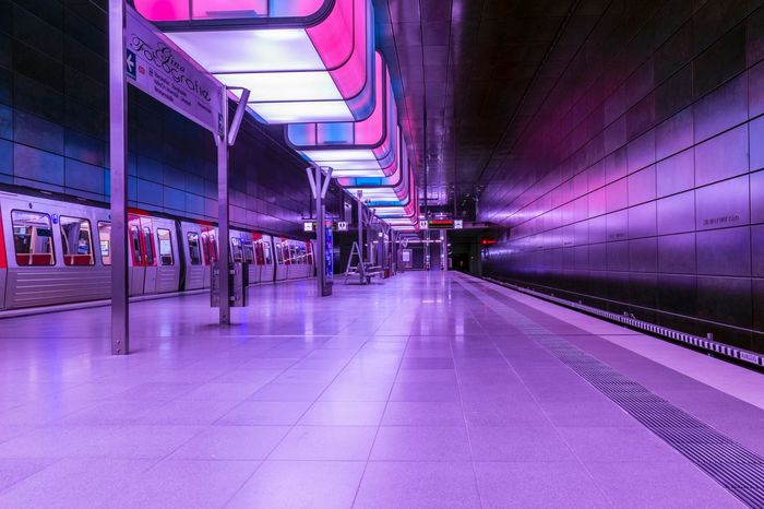 is it real? Transportation Public Transportation Train - Vehicle Rail Transportation Illuminated Subway Train No People City Architecture Hamburg Europe Future Vision Perpective Photography Fluchtpunkt Langzeitbelichtung Reflection Germany Motion CityHamburg Streetphotography Mystical Atmosphere Reality Is The Only Word In The Language That Should Always Be Used In Quotes Pink Light Effect Be. Ready. Rethink Things