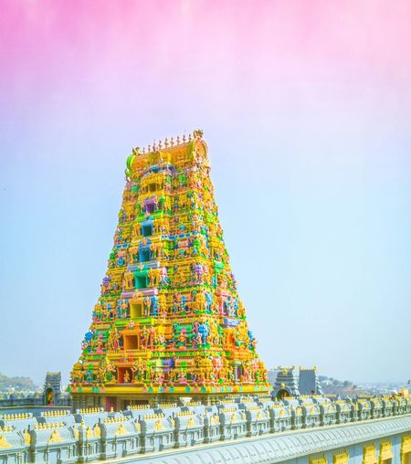 Its my holi place in my beautiful city. Hindu Temple Vijayawada City India History Architecture Multi Colored Travel Destinations Outdoors Day First Eyeem Photo Andrapradesh Dayshots Bridge - Man Made Structure Fog Sky