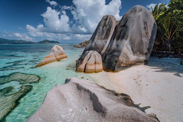 Tilt image of rocks on beach against sky