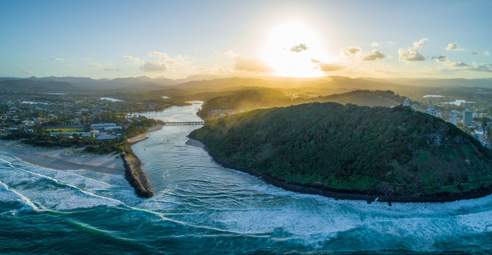 Australia Australian Landscape Aerial View Panorama Panoramic Landscape Drone Photography Sunset Sunrise Dusk Dawn Sky Water Beauty In Nature Scenics - Nature Mountain Nature Sea Sunlight Tranquil Scene Sun Cloud - Sky Lens Flare Waterfront No People Environment Architecture Land Outdoors