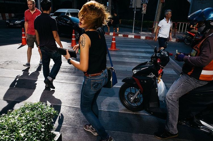 Streetphotography Bangkok Thailand. Yoonjeongvin Biker City Headwear Motorcycle City Life Full Length Togetherness Inner Power Stories From The City The Street Photographer - 2018 EyeEm Awards #urbanana: The Urban Playground