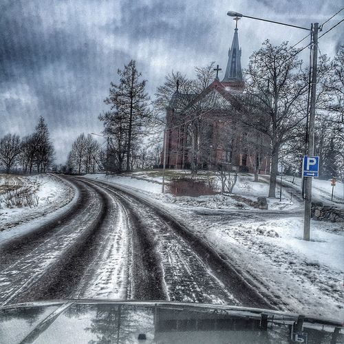 Check This Out Winter Sky Finland Beautiful Chirch On The Road Road Car Discovery