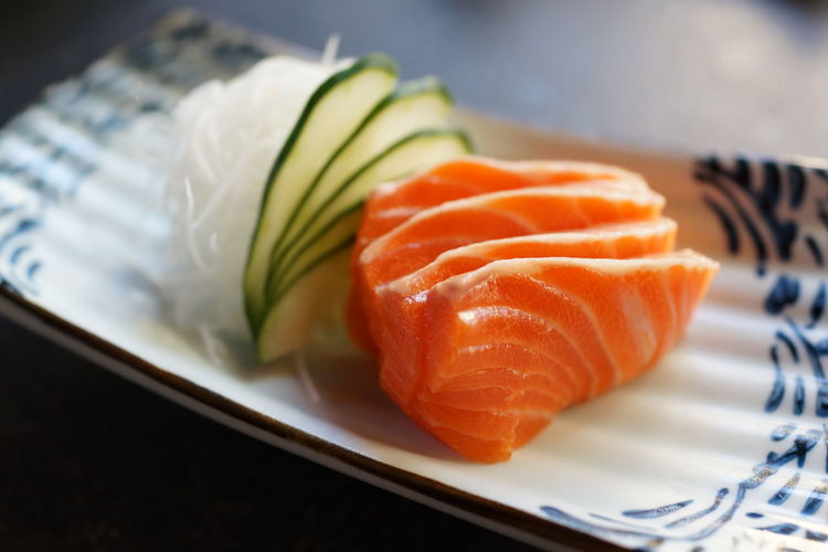 Salmon Sashimi Food Japanese Food Freshness Healthy Eating Seafood Sushi Wellbeing Plate Salmon - Seafood Close-up Fish Indoors  Raw Food No People SLICE Still Life Sashimi  Crockery