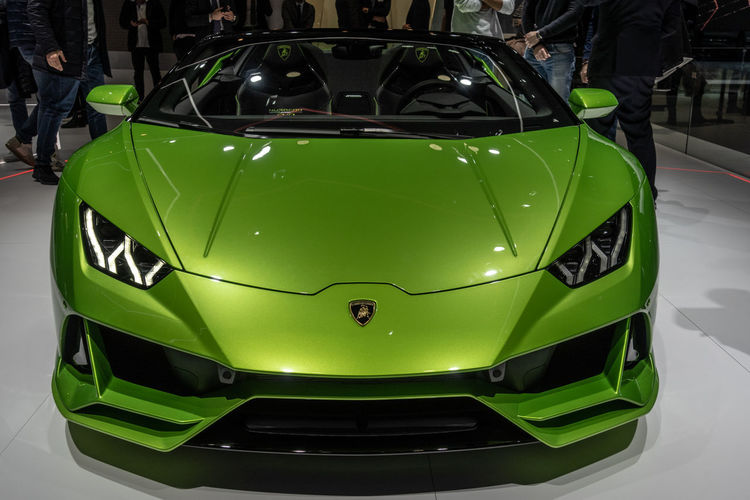 Mode Of Transportation Transportation Car Motor Vehicle Lamborghini Geneva GenevaInternationalMotorshow2019 Indoor Exhibition Supercar Sportcar Land Vehicle Green Color Close-up Front View Sport Sports Car Shiny Luxury Huracan