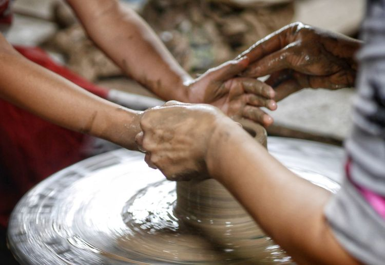 Human Hand Teamwork Water Child Togetherness Working Cooperation Women Clay Skill  Flour Molding A Shape Molding A Shape Pottery Pot Terracotta Pastry Cutter Baking Bread Muddy Mud Baker - Occupation