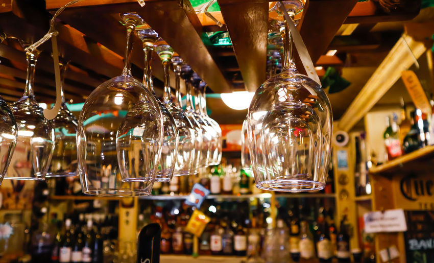 Close-up of illuminated lanterns hanging in restaurant