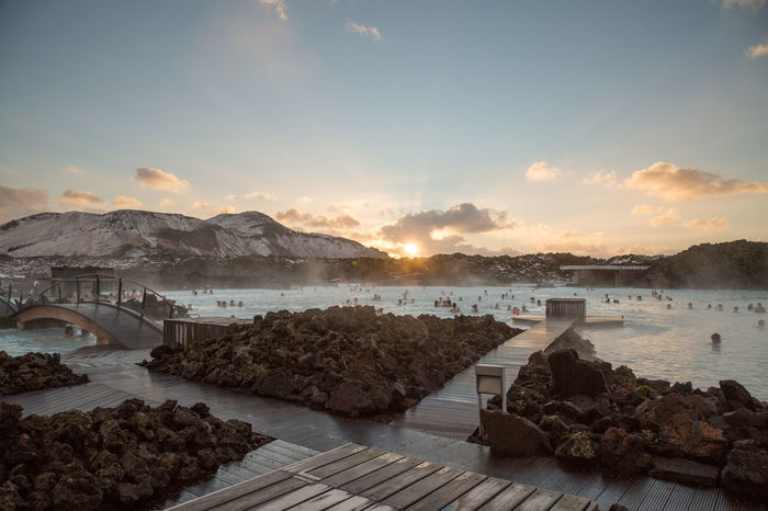 The Blue Lagoon in Iceland during winter. Bathing Blue Lagoon Day Geothermal  Geothermal Spa Iceland Lagoon Outdoors Scenics Sky Sunset Swimming Tourism Tourist Tourists Travel Travel Destinations Traveling Volcanic  Water Winter