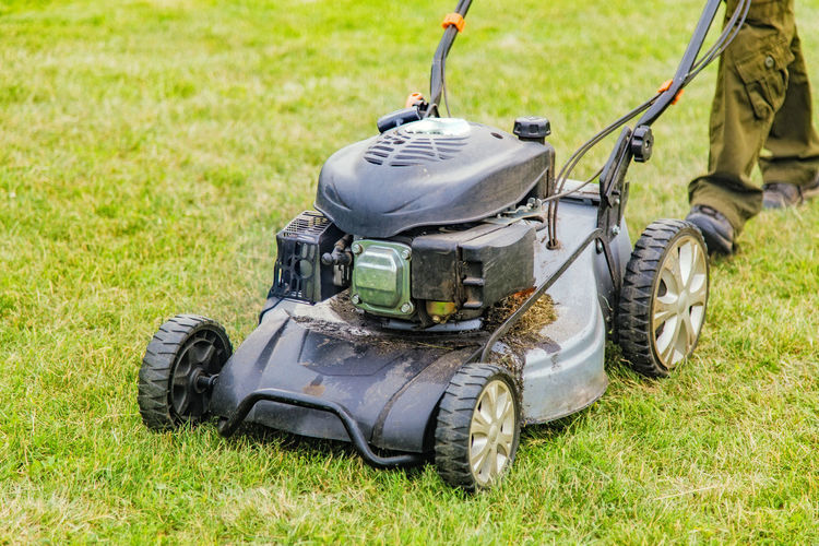 Low section of person using lawn mower