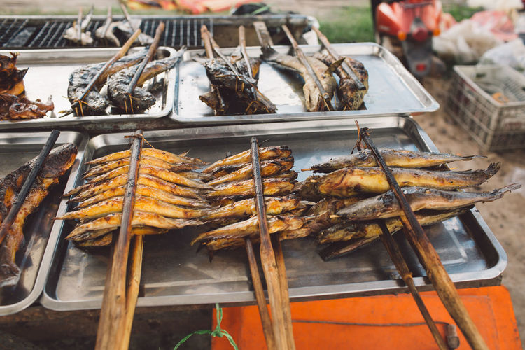 Grilled Fishes At Market For Sale