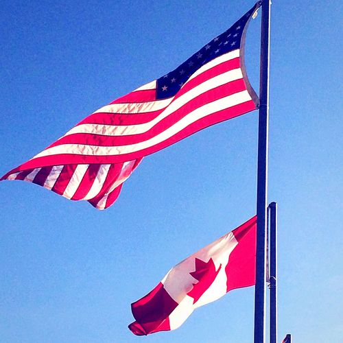 Flag American American Flag Canada Canada Flag Canadian Pole Sky USA Blue Patriotism Stars And Stripes Flag Pole No People Day Clear Sky Striped