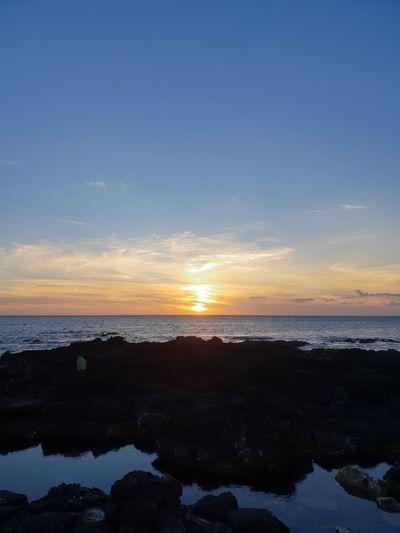 sunset on the sea EyeEm Gallery Summertime Beauty In Nature Blue Sky Sea Sunset Beach Horizon Low Tide Blue Luminosity Beauty