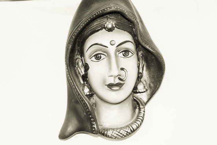 Women representing Rajasthan, India Art Art And Craft Black Background Close-up Creativity Cut Out Fashion Female Likeness Human Representation Indian Woman Man Made Object Rajasthani Women Single Object Statue Still Life White Background Woman Portrait