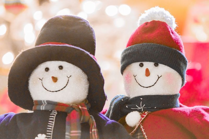 Friendship ❤ Love Smiling Snowman Cold And Snowing Winter Inside Family Holidays Tree Christmas Celebration Christmas Decoration Winter Clothes Snowman Couple Human Representation Anthropomorphic Face Close-up Focus On Foreground Snowman Indoors  Celebration