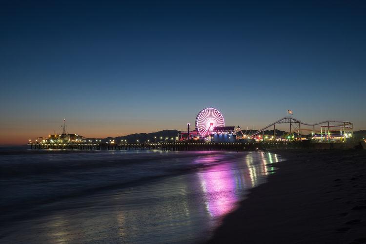 Santa Monica Pier Against Sky At Dusk
