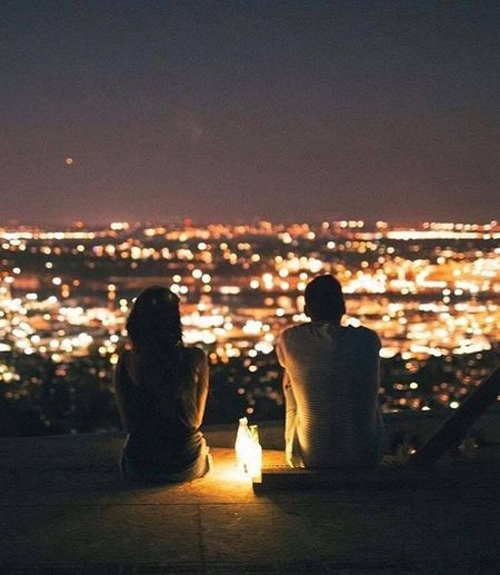 The City Light First Eyeem Photo Happiness Cloud - Sky Couple - Relationship Night Enjoyment Cityscape Looking At View Togetherness Tranquility Date Night - Romance Dark Adult Inspiration Mountain Rear View Dating Women
