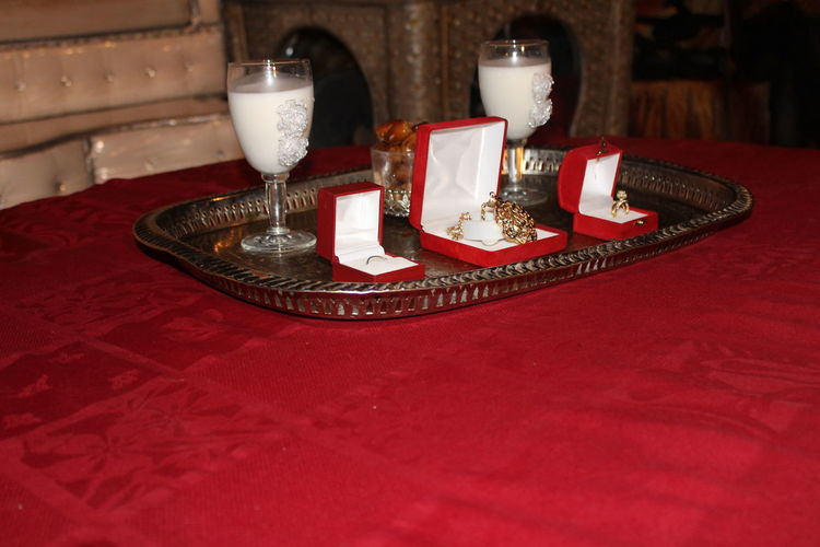 Gold Married To A Videographer Celebration Indoors  Married Gifts Married Party Milk Of Mar Party Red Table