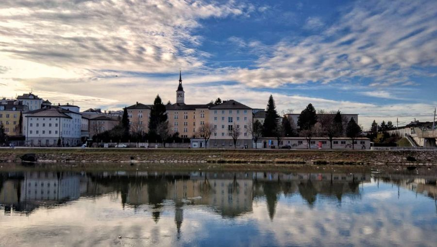 Water Reflection Architecture Built Structure Building Exterior Sky Cloud - Sky Waterfront Tower Outdoors No People Day River Salzburg Austria December Winter City Travel Destinations
