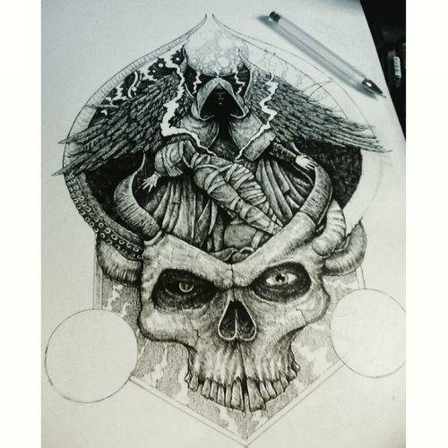 Design Illustration ArtWork Progress My Drawings ✏ Skull Face On Paper Inking Stippling#artwork#illustration#pen#pencil#blackandwhite#drawing Enjoy ✌
