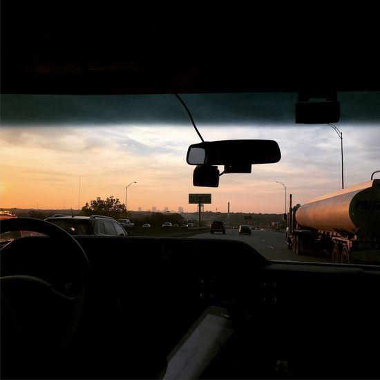 Traffic Sunset Mode Of Transportation Transportation Car Sunset Motor Vehicle Sky Cloud - Sky Land Vehicle Vehicle Interior Road Car Interior Street Orange Color Summer Road Tripping
