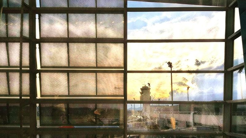 Palermo Airport Sunset Reflection Sky Cloud - Sky Sunset Indoors  Window Beauty In Nature Architecture Adventure Sea Outdoors Indoors  Longing To Be Outside