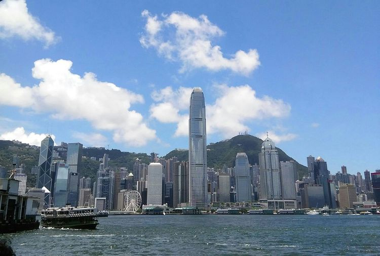 Hong Kong Victoria Harbour Summer2015 My Hometown Blue Skies ⛅ Ferriswheelinthecity🎡🎢