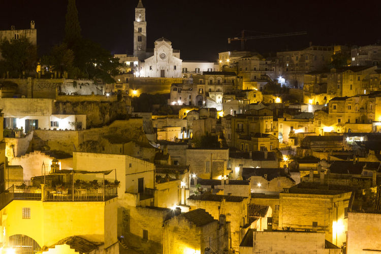 Matera Italy Unesco UNESCO World Heritage Site Cityscape Urban Overview Architecture Building Exterior Built Structure Night Illuminated Building City Residential District No People Nature Outdoors High Angle View Old The Past History Town House TOWNSCAPE